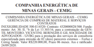 contrato consultoria jurídica Forluz Cemig Saúde